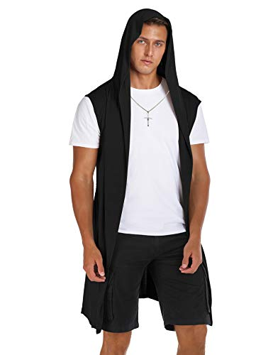 RAGEMALL Mens Sleeveless Long Cardigan Open Front Draped Lightweight Hooded Sweater with Pockets Black_S