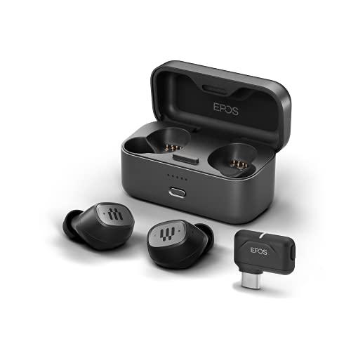 EPOS GTW 270 Kabellose Hybrid-Gaming Bluetooth Kopfhörer In Ear, USB-C-Dongle, Geräuschreduzierend, Geschlossenes Design, Dual-Mikrofone, Ergonomisch, IPX 5 Wasserdicht, Ladegerät, 20 h Spielzeit