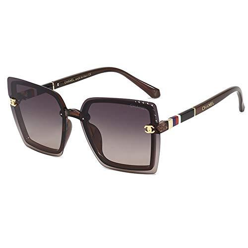 CHSDN , Gafas de sol para mujer, gafas de sol con marco al aire libre, gafas de sol salvajes (tamaño: té morado)