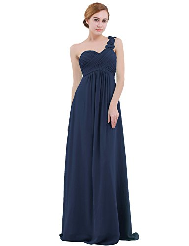 IEFIEL Vestido Largo Gasa Mujer Vestido de Boda Dama de Honor Chica Vestido de Flores Fiesta Cóctel Ceremonia Un Hombro Descubierto Elegante