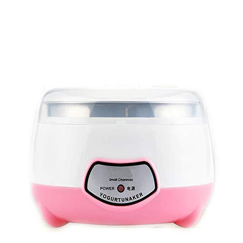 DIDIOI Máquina de Yogurt, 1 litro de Acero Inoxidable automático/PP Cubo de Color Rosa 220V Yogur...