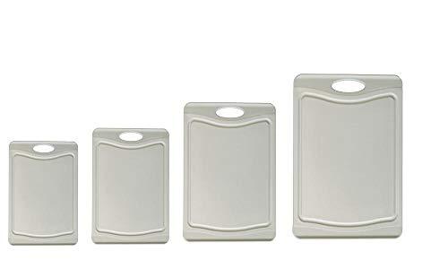 Steuber - Juego de 4 tablas de cortar con trona de zumo, 4 tamaños, utilizables por ambos lados, superficie antideslizante, color gris
