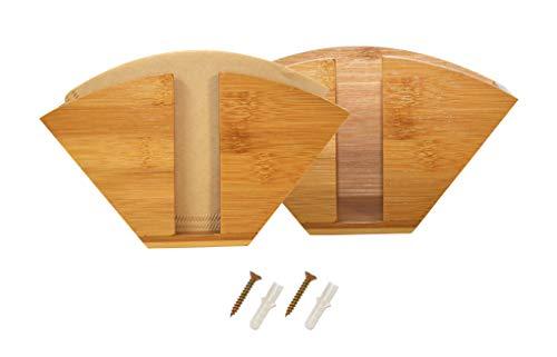 elbmöbel 2er Set Bambus Holz Filtertütenhalter - Kaffeefilterhalter inkl. Schrauben, Serviettenhalter für die Wand oder Stehen als Serviettenständer oder Filterpapierhalter