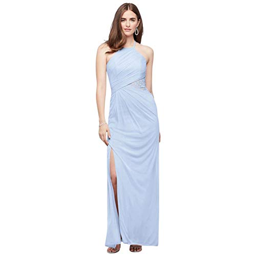 High-Neck Mesh Bridesmaid Dress with Lace Inset Style F19985, Ice Blue, 14