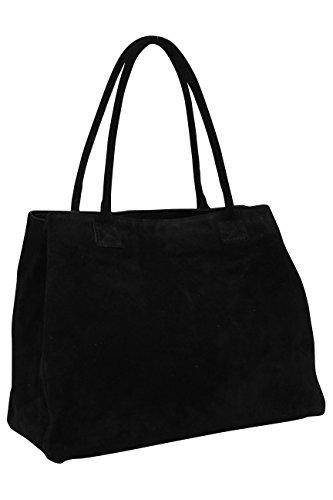 Ambra Moda WL810 - Borsa a mano da donna, in pelle scamosciata, shopper, Nero (Nero ), X-Large