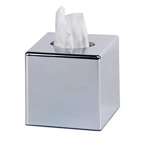 TRGCJGH Soporte para Caja De Pañuelos Cubo Espejo Soporte Cuadrado para Tapa De Caja De Pañuelos Soporte para Servilletas Kleenex Organizador De Baño Soporte Acabado Cromado