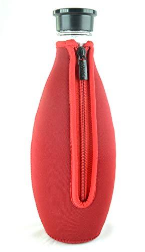 Bokshi® Bottle Cover | Schutzhülle für SodaStream Crystal Glaskaraffe | Hülle aus Neopren für Soda Stream Crystal Glasflasche | rot
