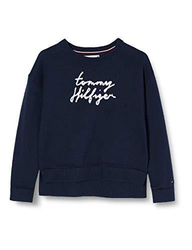 Tommy Hilfiger Bluza dziewczęca Essential Tommy Script Sweater, niebieski (Twilight Navy C87), 80 cm