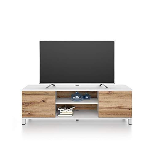 Mobili Fiver, Mueble TV Rachele, Color Fresno Blanco - Madera Rustica, Aglomerado y Melamina, Made in Italy