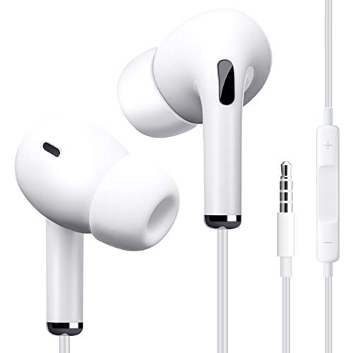 Wired Earbuds, Earbuds with Microphone and Volume Control, in Ear Ergonomic Noise Isolating Headphones, Earphones with 3.5mm Jack, S/M/L Eartips,Powerful Bass Sound (White)