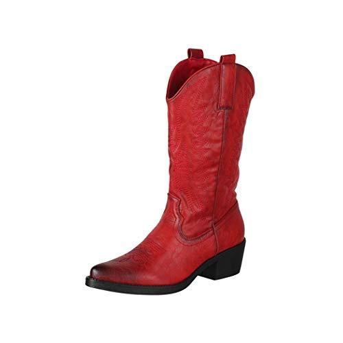 Elara Botas de Vaquero Mujer Estilo Motero Chunkyrayan Rojo 301-A32 Red-39