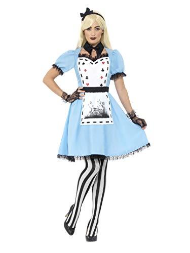 Smiffy's - Dames Deluxe Donker theeparty kostuum, jurk met schort, kraag, panty en haarband, blauw