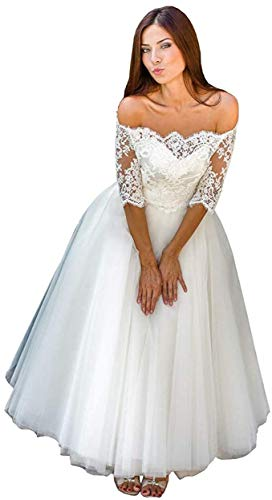 iluckin Women's Off Shoulder A line Lace Wedding Dress with Sleeve for Bride Tea Length Short Bridal Ball Gown Ivory