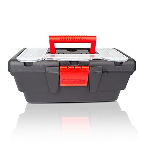 Caja de herramientas, caja de herramientas vacía de Plástico, resistente. Con 5 organizadores(32cm x 20cm x 15cm). Para piezas pequeñas, una bandeja superior y un gran habitáculo inferior.