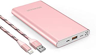 Portable Charger 10000mAh Cell Phone Power Bank Portable Battery Pack External Backup BENANNA Dual Input Compatible with iPhone X XS Max XR 8 7 6 Plus Se 11 10 Android Galaxy iPad - Rose Gold Pink