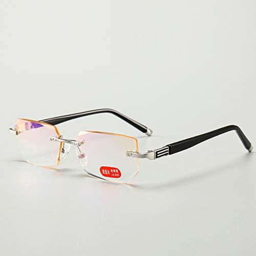 LGQ Gafas de Lectura de Metal sin Marco de Moda, Lentes de Resina HD Anti-luz Azul, bloquean una Variedad de luz dañina Gafas para Hombres y Mujeres Dioptrías +1.00 a +3.00,Negro,+2.00