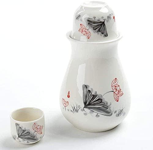 MISS KANG Juego de Sake japonés Set de 4 Piezas Esmalte Blanco Textura Copa de cerámica Cultura de cerámica Copas de Vino para frío/cálido/Shochu/té Mejor Regalo para Familia y Amigos Qingchunw
