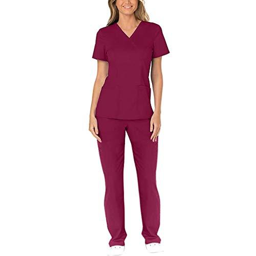 Zilosconcy Arbeitskleidung Kurzarm T-Shirt Tops + Hosen Pflege Set mit Tasche Unisex Arzt Berufsbekleidung Krankenschwester Kleidung Damen Uniformen V-Ausschnitt Oberteil RotXL