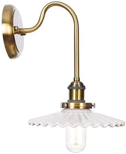 LHJCN Lámpara de Pared Retro de Cuello de Cisne de Metal Cepillado con Interruptor y Pantalla de cerámica Aplique de Pared 1 luz Lámparas de Lectura de cabecera E27 Enchufe para Interior B