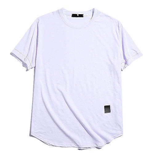 Hombres T-Shirt Simple Color Sólido Cuello Redondo Casual Moda Cómodo Manga Corta Exterior Blanco blanco XL
