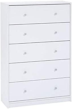 Pemberly Row Contemporary Style Tall 5 Drawer Chest in White