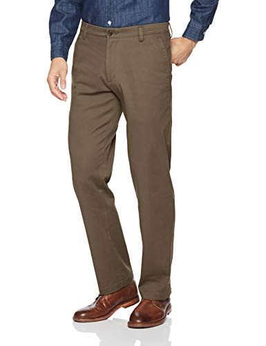 Dockers Men's Straight Fit Easy Khaki Pants D2, Dark Pebble (Stretch), 36 32