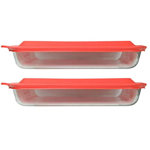 Pyrex (2) 233 Oblong Rectangle Clear Glass Casserole Baking Dishes & (2) 233-PC Red Lids