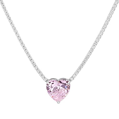 CHENLING Gargantilla de plata de ley 925 Tennies con forma de corazón simple con piedras preciosas esmeraldas, oro blanco, para mujer