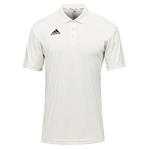Adidas Howzat Herren Cricket-Poloshirt, kurzärmlig, Weiß Gr. L, weiß