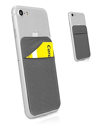 MyGadget Porta Tarjetas de Crédito Adhesiva con 1 Bolsillo para Móvil - Tarjetero Adhesivo Universal - Funda Cartera Elástica con Bloqueo RFID - Gris