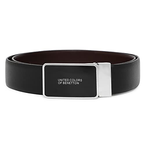 United Colors of Benetton Men's Genuine Leather Reversible Belt ( Black/ Brown ), 36