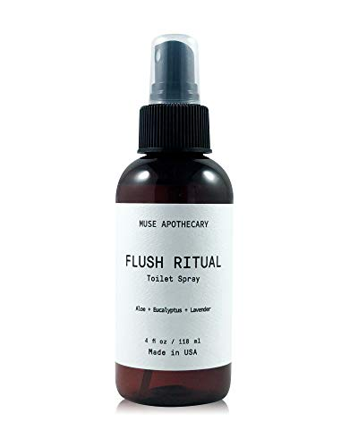 Muse Bath Apothecary Flush Ritual - Aromatic & Refreshing Before You Go Toilet Spray, 4 oz, Infused with Natural Essential Oils - Aloe + Eucalyptus + Lavender