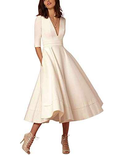 ACHICGIRL Women's V Neck Half Sleeve Solid A-line Elegant Party Maxi Dress