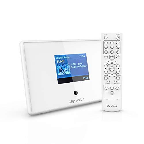 sky vision DAB 201 W Bluetooth Adapter (Digital Radio Adapter) zur DAB Nachrüstung - DAB Adapter Stereoanlage und HiFi, Radio Receiver (UKW + DAB), mit Radiowecker und LCD Display,weiß