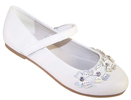 Girls White Flower Girl Bridesmaid Special Occasion Ballerina Shoes with Sparkly Butterfly Trims Size 6