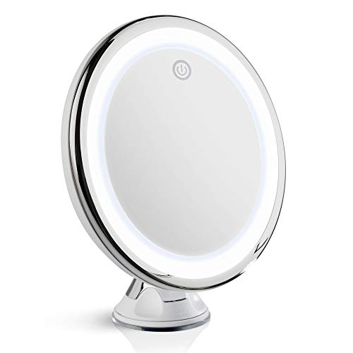 Fancii 10X Magnifying LED Lighted Makeup Mirror with Dimmable True Natural Light – USB & Battery, 20cm Wide, Chrome (Luna)