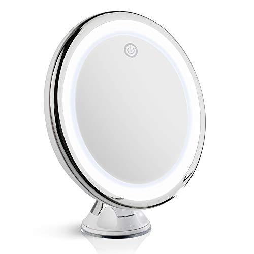 Fancii Espejo Maquillaje de Aumento 10x con Luz LED Diurna, USB y Pilas - Espejo Ventosa Iluminado, 20 cm de Ancho, Cromo (Luna)