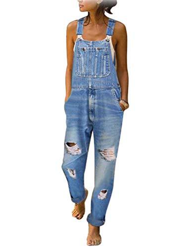 Tomwell Jeanslatzhose Damen Latzhose Jeans Hose Vintage Loose fit Jumpsuit Overall Blumen Denim Playsuit Romper A Hellblau M