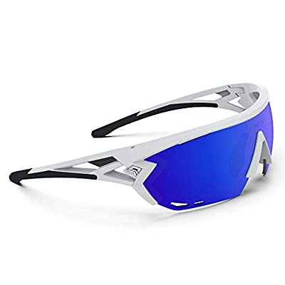 TOREGE Sports Sunglasses with 1.4mm Polarized Lens For Men Women Cycling Running Fishing Driving Golf Glasses TR18 Eagle-s (White&Black&Blue Lens)