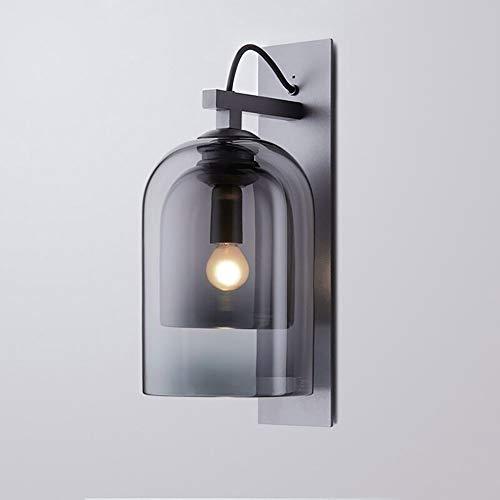 Grijze Glazen Lampenkap Stijlvolle LED E27 Wandlamp, Metalen Voet Warm Licht, Geschikt Voor Slaapkamer Nachtkastje Woonkamer Gang Galerij Etc.