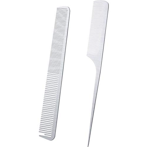 2 Pieces Metal Tail Combs Silver Rat Tail Hair Combs Fine Cutting Comb Wallet Comb Teasing Pintail Barber Comb Stainless Steel Hair Styling Cutting Comb Rat Tail and Fine Cutting Comb