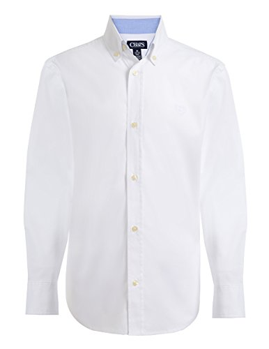 Chaps Boys' Big Long Sleeve Solid Button-Down Woven Shirt, White, Large (14/16)