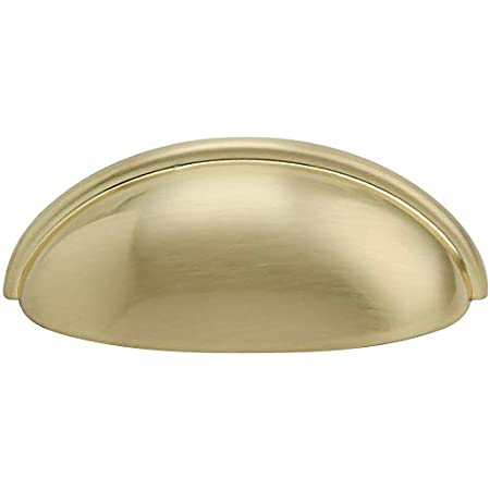 Hamilton Bowes Satin Brass Cabinet Hardware Cup Pull 3 Modern Basic Modern Gold Vibrant Amber