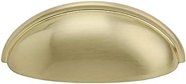 "Silverline 3"" Inch Hole Centers Cabinet Bin Cup Drawer Cup Pulls Kitchen Hardware Handles, Satin Brass (6)"