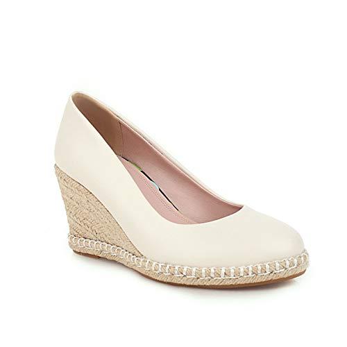 Zapatos de tacón Alto de cuña Resbalón en la Comodidad para Las Mujeres Boca Baja Diaria Primavera Otoño Zapatos Gruesos Punta Redonda