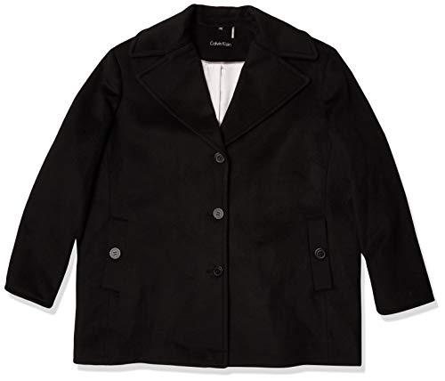 Calvin Klein Plus Size Womens Single Breasted Peacoat, Black, 3X