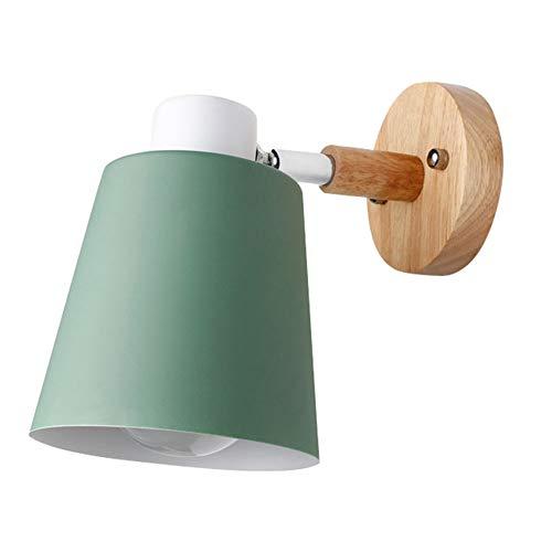 Homeofying, Lampada da Parete in Legno Nordico Regolabile a 90 Gradi, Lampada da Comodino, Lampada a LED con Paralume Green