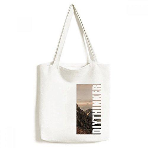 DIYthinker Men Mountain Desert Sun Mist Clouds Lake Tote Canvas Bag Shopping Handtas Craft Wasbaar 33 cm x 40 cm (13 inch x 16 inch) Multi kleuren
