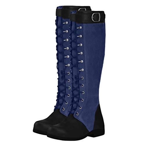 Botas de tacón para Mujer, Estilo Vintage, Multicolor (Azul), 40 EU
