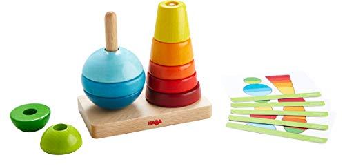 HABA 305404 - Steckspiel Formenspaß, Motorikspiel aus Holz mit zwei Steckstäben und 10 Steckelementen, für freies Spielen oder Spiel nach Anleitung, Holzspielzeug ab 2 Jahren